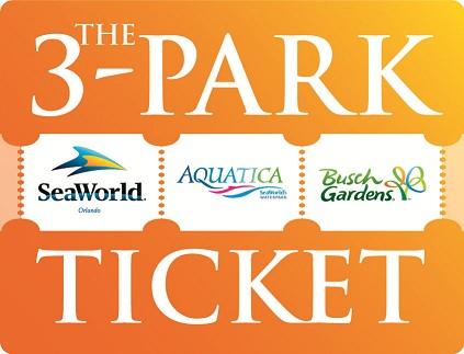 3 Park Seaworld Aquatica Busch Gardens Ticket